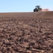Agriculture tractor with machine sowing seeds and cultivating field — Stock Video