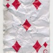 Stock Photo: Old crumpled five of diamonds playing card