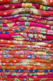 Colorful bed sheets bedding objects in asia market — Stock Photo