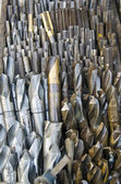 Steel drill bits collection in market — Stock Photo