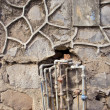 Old urban wall with rusty water pipe tube — Stock Photo