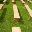 Stockfoto: Many new wooden seats on grass