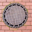Stockfoto: Street canalization steel manhole on pavement