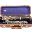 Old used clarinet in ancient case isolated — Stock Photo