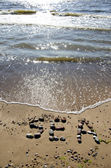 Stone word sea on summer beach — Foto de Stock