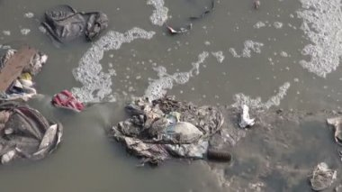Catastrophic water pollution in  Katmandu city, Nepal. — Stock Video