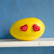 Yellow melon with two red hearts — Stock Photo