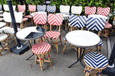 Empty beautiful street cafe restaurant furniture in Paris — Stock Photo