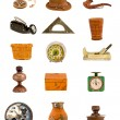 Various antique tools and objects isolated on white — Stock Photo #48293505