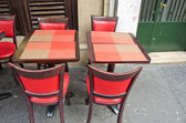 Cafe furniture - Paris street — Stock Photo