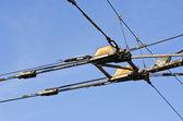 Construcción del cable de electricidad de carretilla trolebús — Foto de Stock