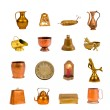 Collection  assorted antique objects isolated on white — Stock Photo #48460353