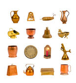 Collection  assorted antique objects isolated on white — Zdjęcie stockowe