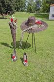 Wicker beautiful  florist objects in city park — Stock Photo