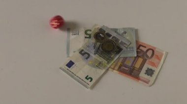 Red dice luck number six and euro money cash on table — Stock Video