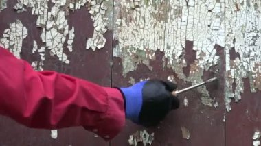 Worker scraping old paint from wooden wall — Stock Video