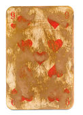 Antique  playing card of hearts paper background isolated on white — Stock Photo