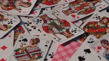 Playing card background rotate on table — Stock Video