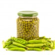 Green peas vegetables canned preserved in glass jars pots isolated on white  — Stock Photo #51011171