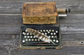 Antique typewriter with  old book Bible and bird feather  — Foto Stock