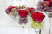 Flowers rose in wine glass  goblet — Stock Photo