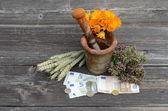 Argamassa antiga e ervas medicinais com notas de dinheiro do euro — Fotografia Stock