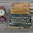 Antique typewriter, vintage clock and old book Bible — Fotografia Stock  #51405537