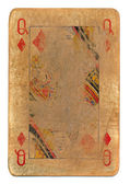 Ancient used rubbed playing card queen of diamonds paper background — Stock Photo