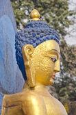 Face statue of Buddha at  Swayambhunath stupa Temple in Kathmandu — Stock Photo