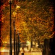 Man running at alley in autumn park. Photo in old image style — Stock Photo