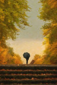Digital painting of lonely man with umbrella walking in autumn park — Stock Photo