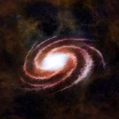 Rode spiraalvormig sterrenstelsel tegen zwarte ruimte — Stockfoto