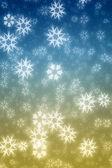Flocos de neve azul e amarelo colorfiul fundo de inverno — Foto Stock