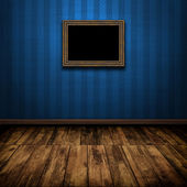 Dark vintage room with wooden floor and old frame on the wall — Stock Photo