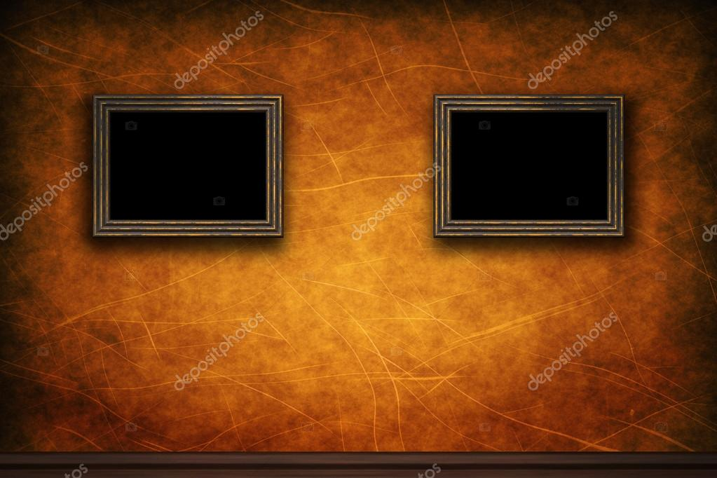 Old Wooden Picture Frames Old Wooden Frames on Retro Grunge Wall Photo by Attila445