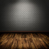 Interno camera oscura d'epoca con pavimento in legno — Foto Stock