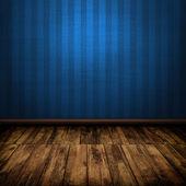 Dark vintage blue room interior with wooden floor — Stock Photo