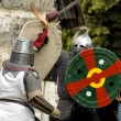 Stock Photo: CHORZOW,POLAND, JUNE 9: Fight of medieval knights during IV Co