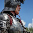 CHORZOW,POLAND, JUNE 9: Medieval knight with rised visor during — Stock Photo