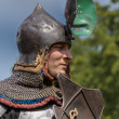 CHORZOW,POLAND, JUNE 9: Medieval Knight with raised visor during — Stock Photo