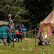 CHORZOW,POLAND, JUNE 9: Medieval knight defeated in jousting dur — Stock Photo