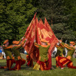 "Stock Photo: CHORZOW,POLAND, JUNE 9: ""GwardiGryfa"" team performing flag dan"