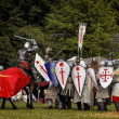 CHORZOW,POLAND, JUNE 9: Battle of medieval knights during a IV C — Stock Photo #29851131