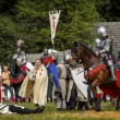 CHORZOW,POLAND, JUNE 9: Battle of medieval knights during a IV C — Stock Photo #29851161