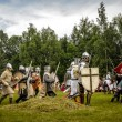 CHORZOW,POLAND, JUNE 9: Battle of medieval knights during a IV C — Stock Photo #29851181