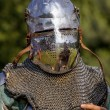 Medieval knight in helmet — Stock Photo