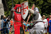 CHORZOW,POLAND, JUNE 9: Fight of medieval knights during a IV Co — Foto Stock