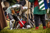 CHORZOW,POLAND, JUNE 9: Defeated knight during a IV Convention o — Stock Photo