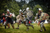 CHORZOW,POLAND, JUNE 9: Charge of the medieval knights during a — Stock Photo