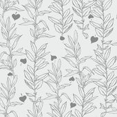 Background with leaves. gray color, low branches and leaves, weaving plants. seamless ornament — Stock Vector